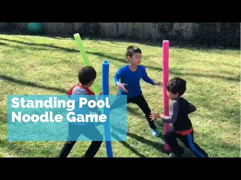 Standing Pool Noodle Game - fun kids outdoor activity team building game - youth group game