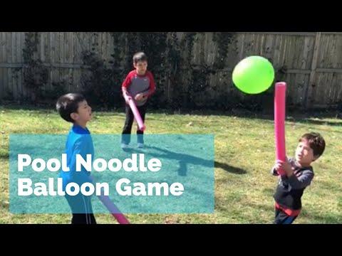 Pool Noodle Balloon Game - fun outdoor summer family activity
