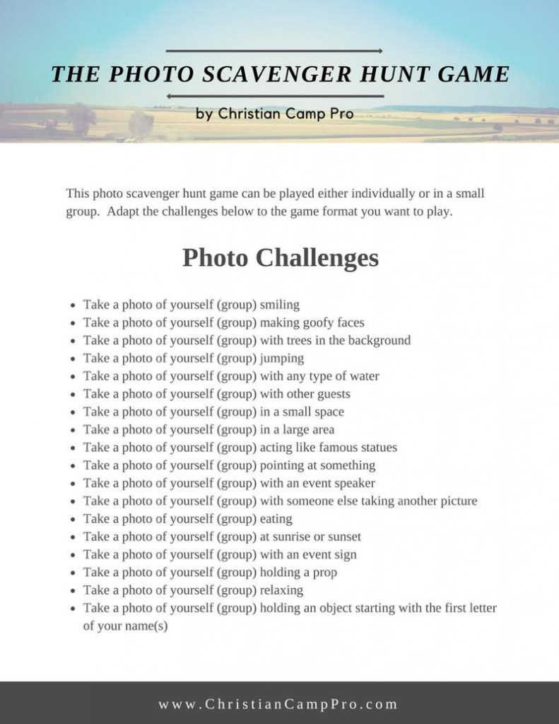 Photo Scavenger Hunt Game