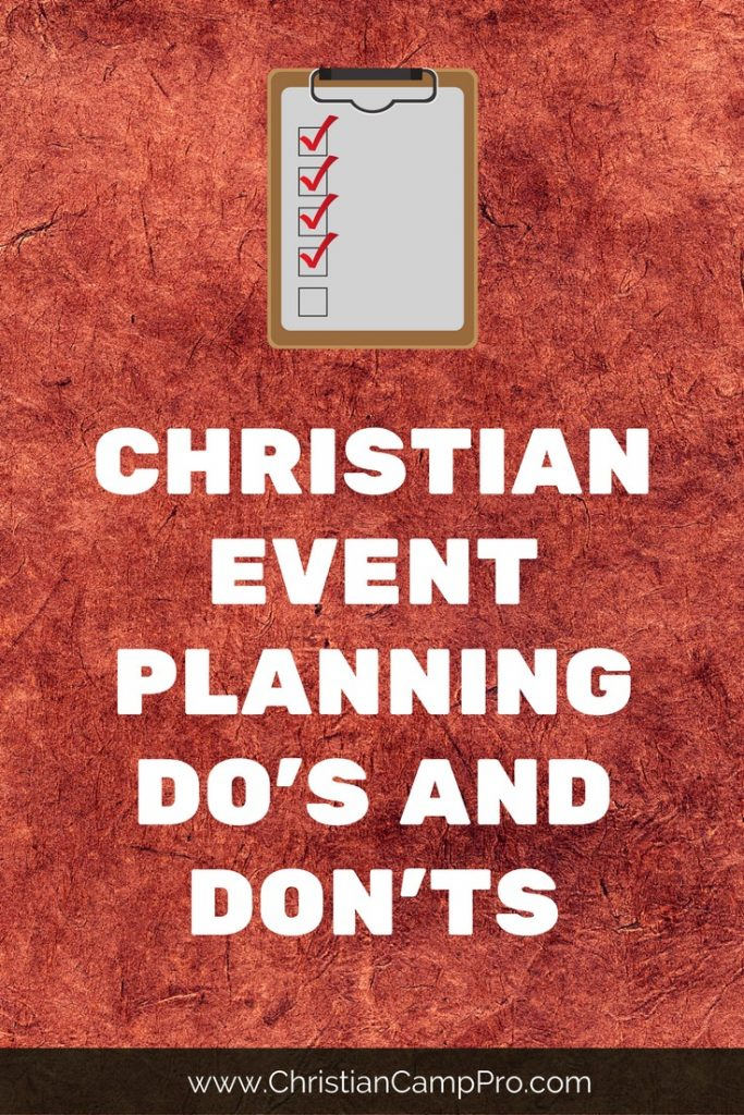 christian event planning do and dont