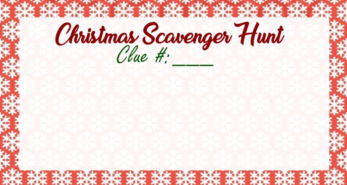 blank christmas scavenger hunt clue card