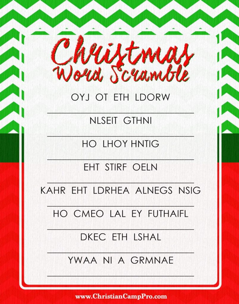 image relating to Printable Word Scramble named Xmas Term Scramble Recreation - Christian Camp Qualified