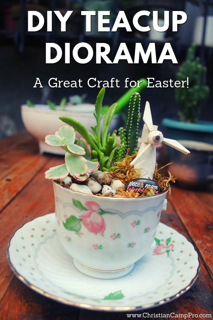 DIY Teacup Diorama for Ladies Easter Retreat