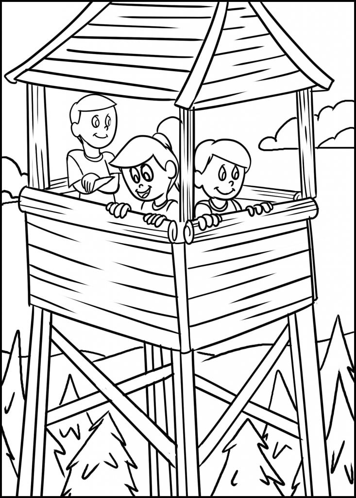 kids exploring a lookout tower